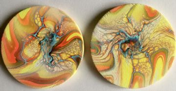 Set of 2 Hand Painted Round Wooden Fantasy Coasters Orange & Yellow made in UK